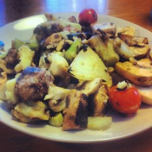 Kyckling, potatismos, fänkål, champinjoner och massor av vitlök
