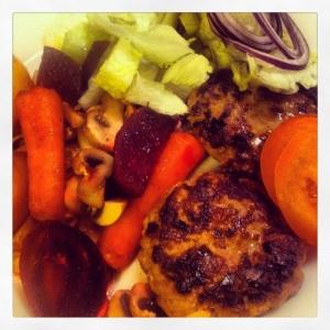 Lördag - middagsburgare med grönsaker och rotsaker