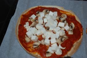 5 Tortillapizza med lågfettfetaost champinjoner och en med svamp