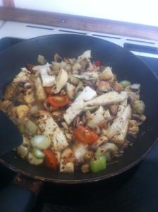 Lunch 3. Steker fänkål blomkål champinjoner tomat vitlök och chilli