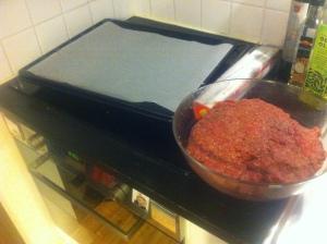 Matlagning kebabförberedelse