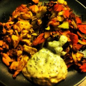 Matlagning torsdagsmiddag Lax potatis sötpotatis vitkål vitlök champinjoner