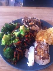 Torsk ägg och grönsaker - lunch