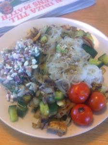 Low carb noodles med skagenröra tomater och lite andra grönsaker